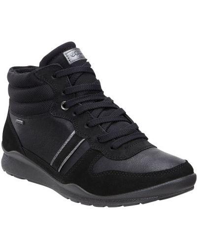 Высокие кроссовки черные текстильные Ecco