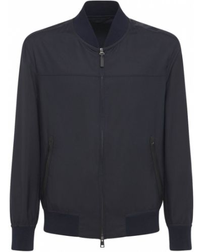 Синяя кожаная куртка на молнии Brioni