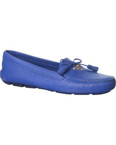 Мокасины кожаные синие Prada