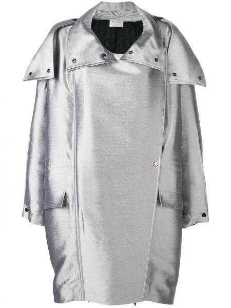 Шерстяное пальто с капюшоном с воротником оверсайз айвори Poiret