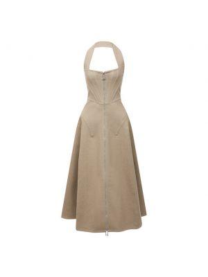 Льняное бежевое платье Bottega Veneta