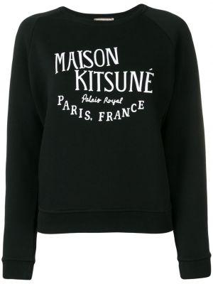 Хлопковая черная толстовка с рукавом реглан Maison Kitsuné