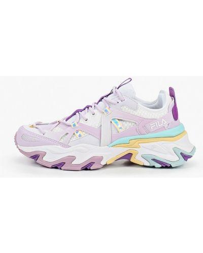 Фиолетовые кожаные кроссовки Fila
