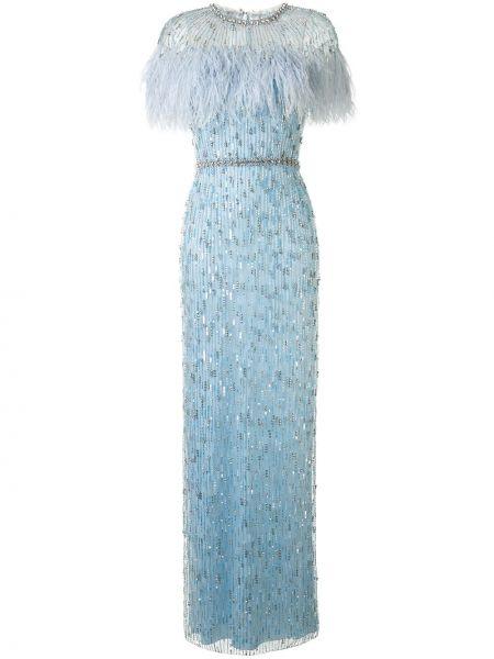 Синее приталенное вечернее платье с перьями с вырезом Jenny Packham
