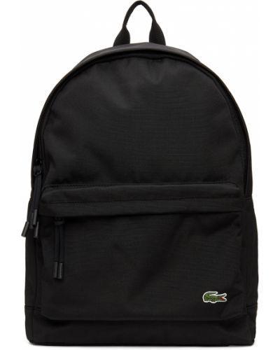 Черный рюкзак с карманами Lacoste