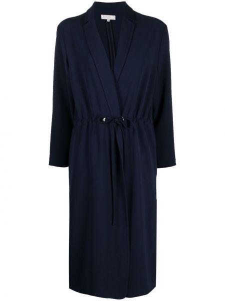 С кулиской синее длинное пальто с поясом Antonelli