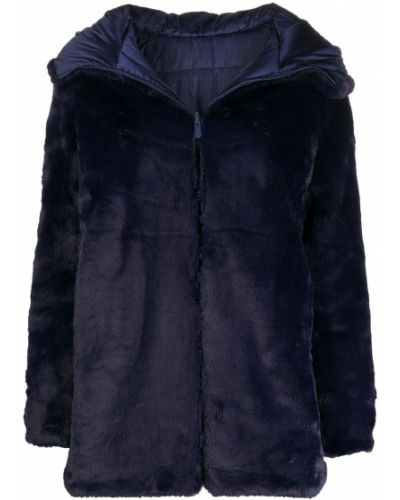 Синее длинное пальто из искусственного меха двустороннее Save The Duck