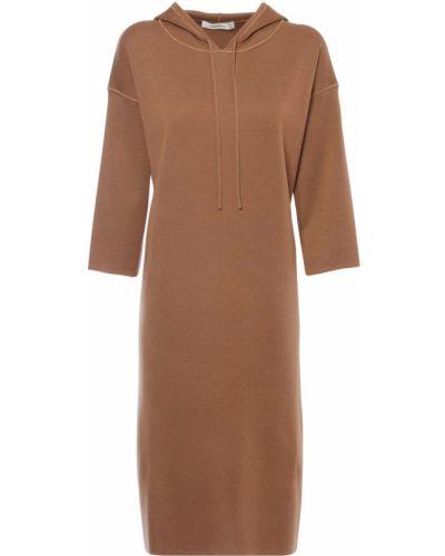 С кулиской шерстяное коричневое платье с капюшоном Max Mara