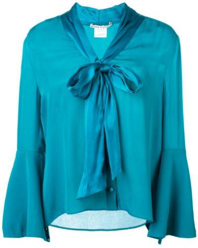 Блузка с рукавом-колоколом синяя Alice+olivia