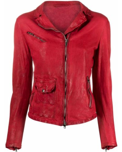 Красная кожаная длинная куртка с воротником Salvatore Santoro