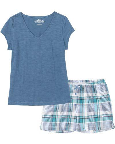 Пижама с шортами в клетку трикотажная Bonprix