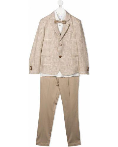 Beżowy garnitur bawełniany z długimi rękawami Colorichiari