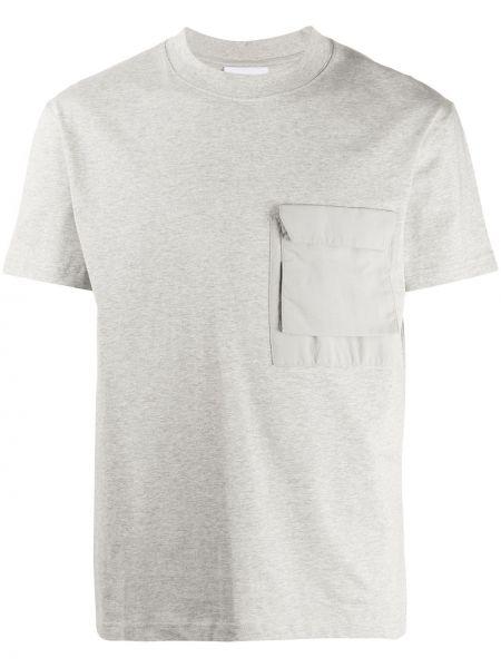 Хлопковая серая футболка с карманами с круглым вырезом Soulland