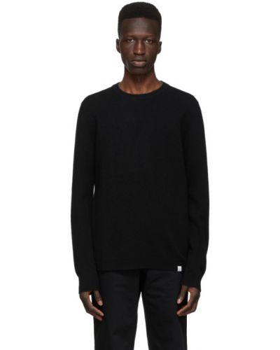 Czarny długi sweter wełniany z długimi rękawami Norse Projects