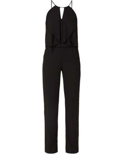 Czarny spodni kombinezon z zamkiem błyskawicznym z kieszeniami z dekoltem Swing