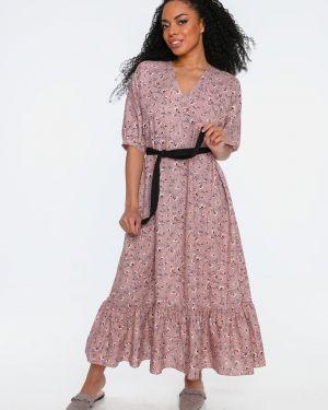 Платье с поясом льняное с цветочным принтом Love&live