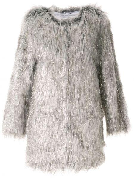 Серая длинное пальто из искусственного меха с воротником Unreal Fur