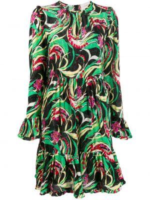 Зеленое шелковое платье мини на молнии с вырезом La Doublej