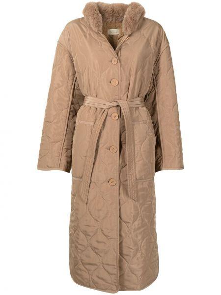 Стеганое пальто - коричневое Mes Demoiselles