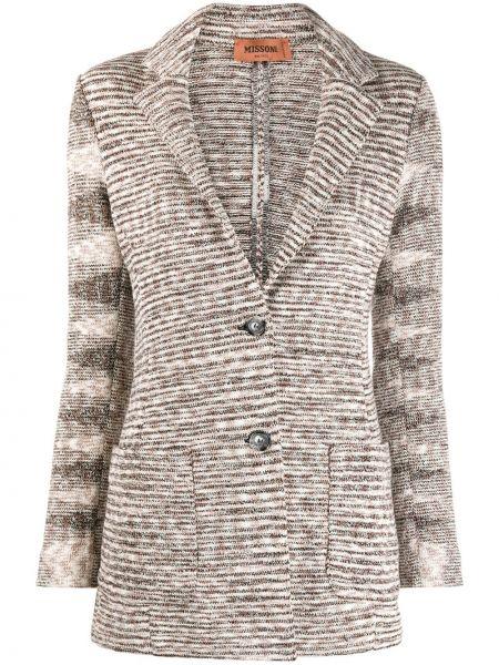 Трикотажный коричневый удлиненный пиджак на пуговицах Missoni