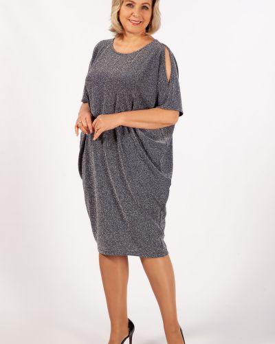Вечернее платье с люрексом ниже колена с разрезом милада