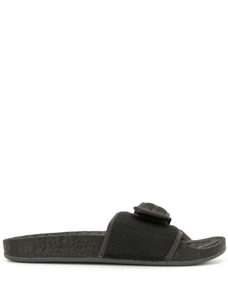 Czarne klapki peep toe bawełniane Adidas By Pharrell Williams