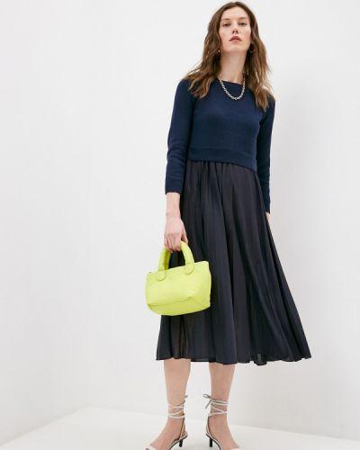 Вязаное трикотажное синее платье Weekend Max Mara