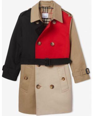 Хлопковое с рукавами пальто с карманами двубортное Burberry Kids