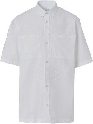 Biała koszula krótki rękaw - biała Burberry