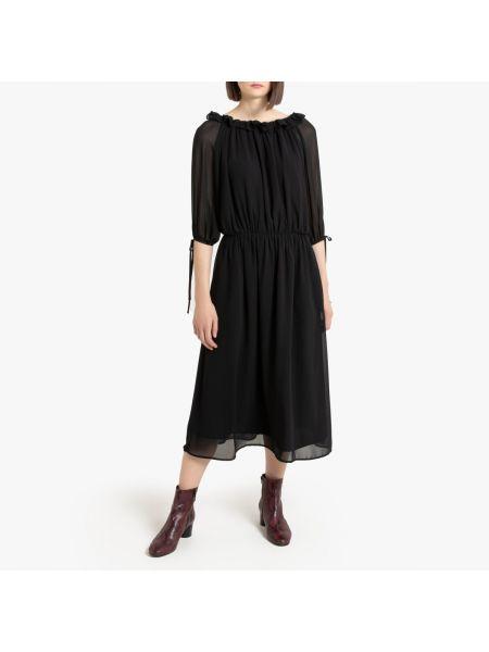 Платье мини с декольте с прозрачными рукавами La Redoute
