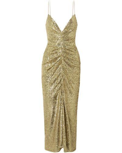 Платье миди из фатина - золотое Monique Lhuillier