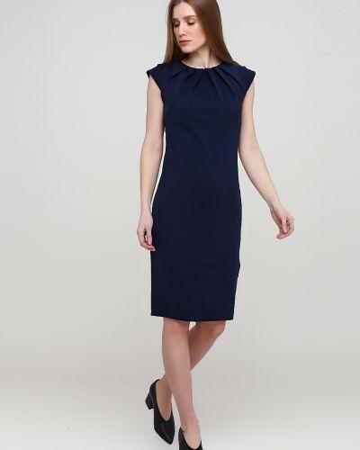 Прямое синее платье с вырезом City Goddess