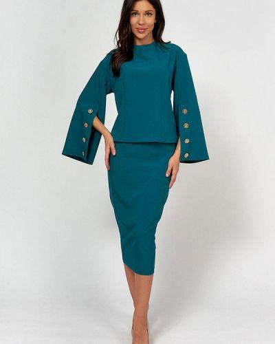Костюмный зеленый юбочный костюм Lussotico