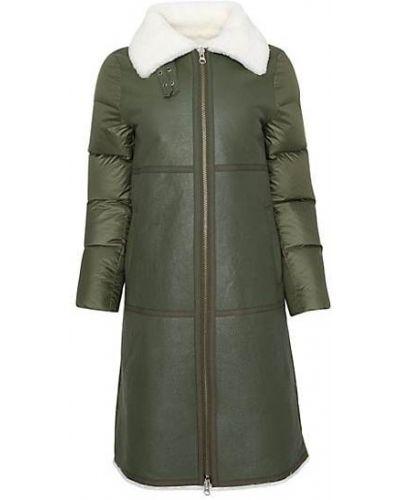 Зеленое пуховое длинное пальто с воротником Wolfie Furs