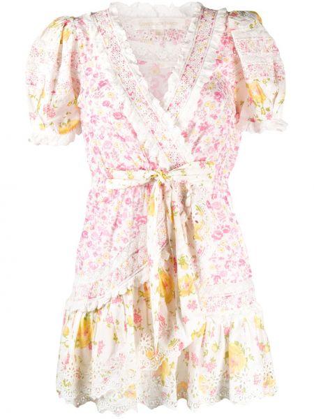 Розовое платье мини с запахом с V-образным вырезом с короткими рукавами Loveshackfancy