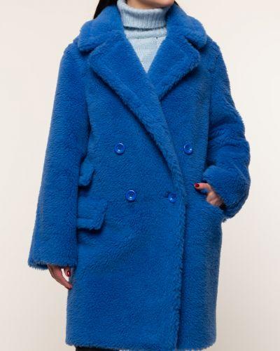 Синее шерстяное пальто с воротником Aliance Fur
