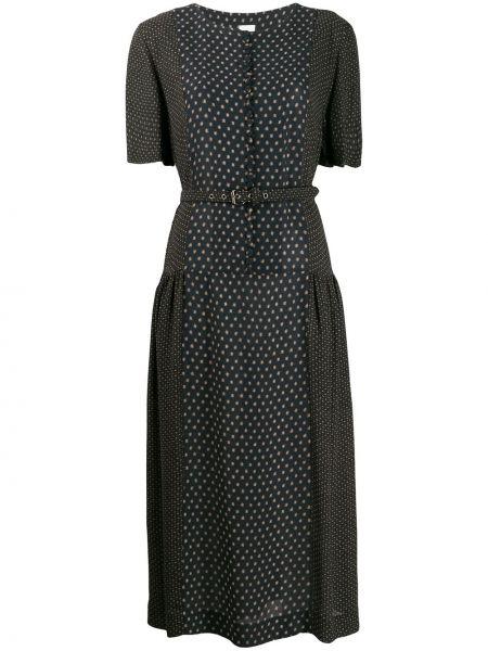 С рукавами черное платье миди с поясом Zanini