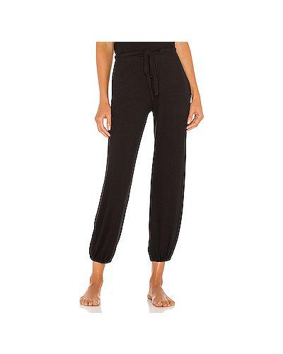 Шелковые черные брюки в рубчик с поясом Eberjey