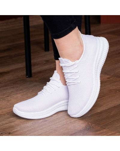 Облегченные текстильные белые кроссовки Fashion
