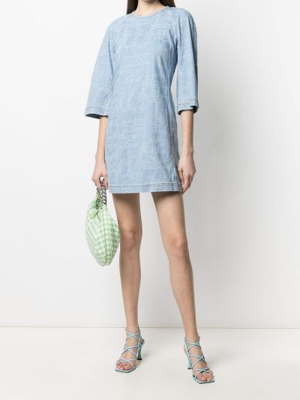 С рукавами синее платье мини трапеция Giambattista Valli