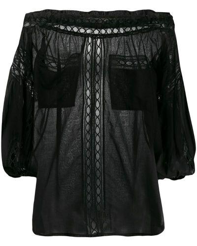 Черная блузка с открытыми плечами прозрачная с вышивкой Charo Ruiz