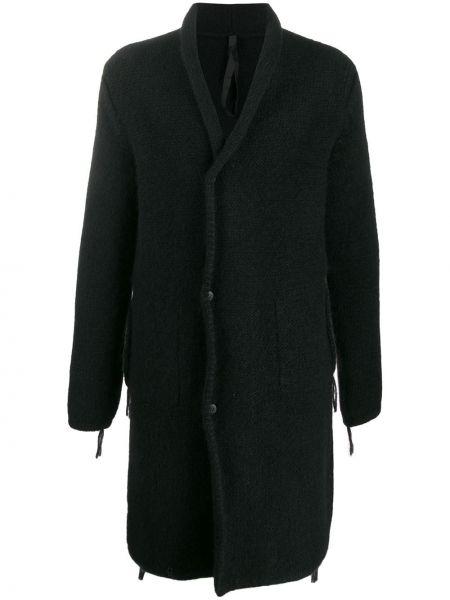 Черное шерстяное длинное пальто с воротником на пуговицах Poème Bohémien
