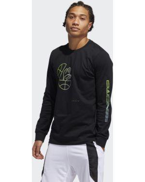 Баскетбольная спортивная черная футболка с длинным рукавом с длинными рукавами Adidas