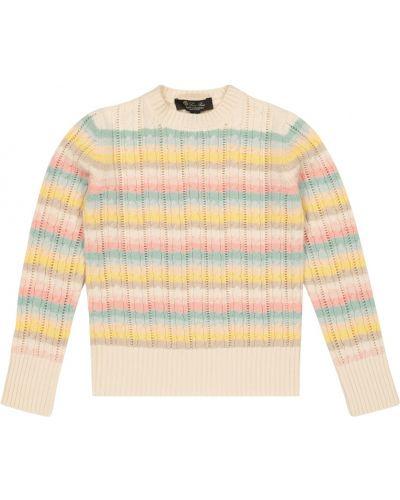 Biały z kaszmiru sweter w paski Loro Piana Kids