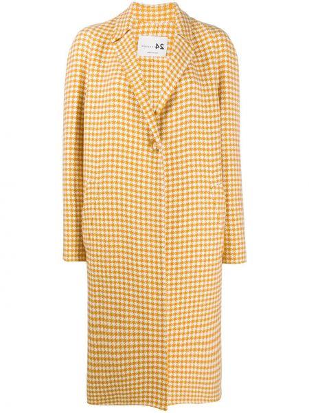 Желтое шерстяное пальто классическое на пуговицах Manzoni 24