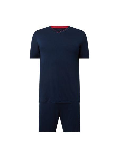 Niebieska piżamy z szortami z dekoltem w serek Schiesser