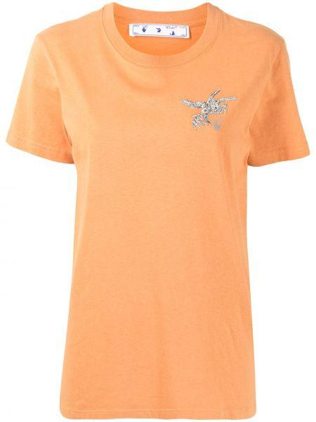 Pomarańczowy bawełna z rękawami koszula Off-white