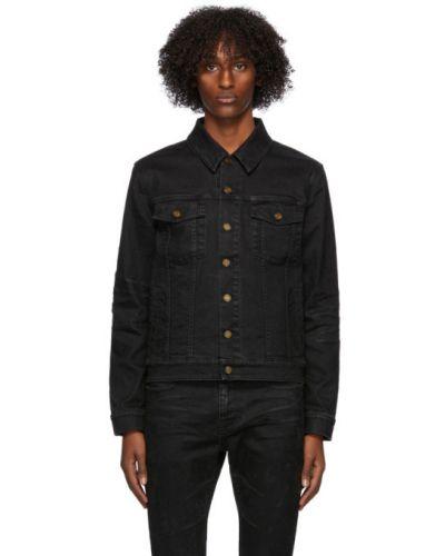 Czarny klasyczny jeansy z kieszeniami zapinane na guziki z kołnierzem Saint Laurent
