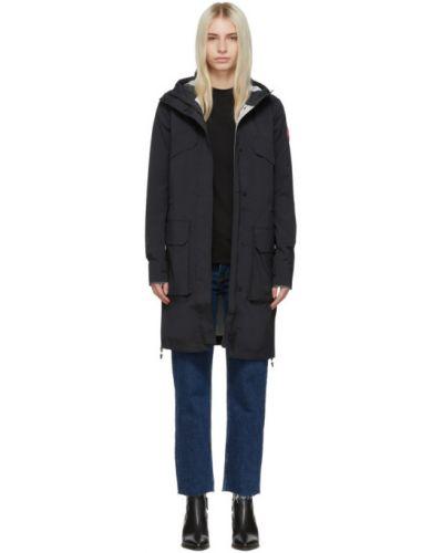 Черное длинное пальто с капюшоном с вышивкой Canada Goose