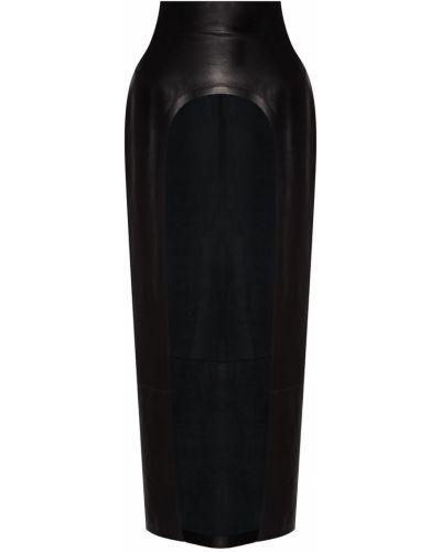 Черная кожаная юбка с разрезом Izeta